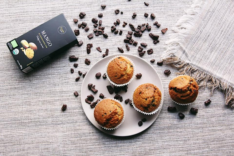 Carrot muffins with fruit in chocolate recipe