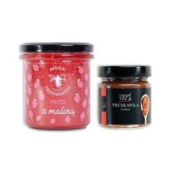 Set of Multiflower Honey with Rasberry & Jam 100% Strawberry with Chia