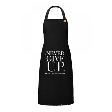 """Never Give Up"" Apron, Black"
