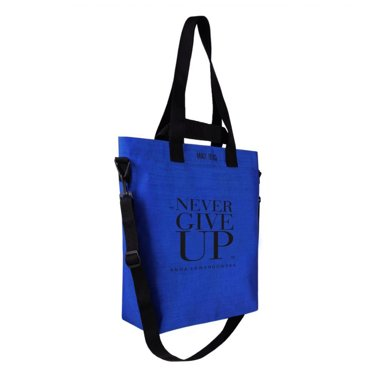 """Never Give Up"" Cargo Bag, Blue + GoEat Salad Box (for free)"