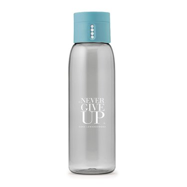 """Never Give Up"" DOT Water Bottle, Blue"