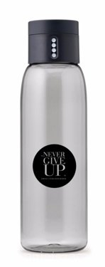 """Never Give Up"" DOT Water Bottle, Circle, Grey"