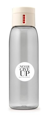 """Never Give Up"" DOT Water Bottle, Cream"