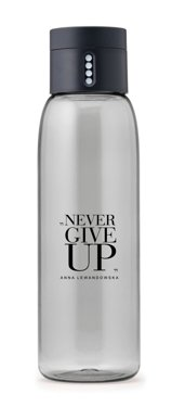 """Never Give Up"" DOT Water Bottle, Grey"