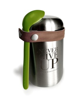"""Never Give Up"" Food Vacuum Flask, Silver, 400 ml"
