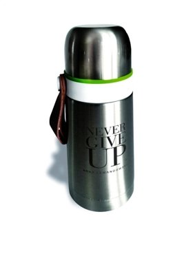 """Never Give Up"" Steel Vacuum Flask, Silver, 350 ml"