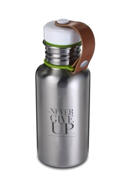 Never Give Up Steel Water Bottle, Silver, 500 ml