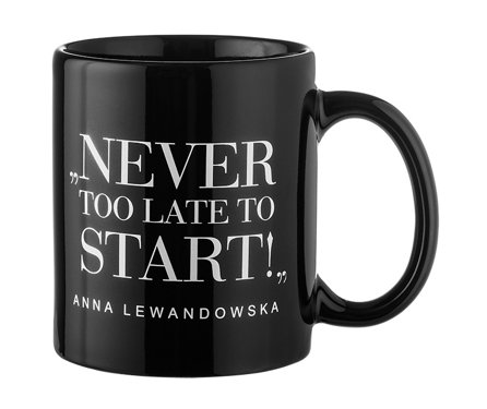 """Never Too Late..."" Mug, Black"