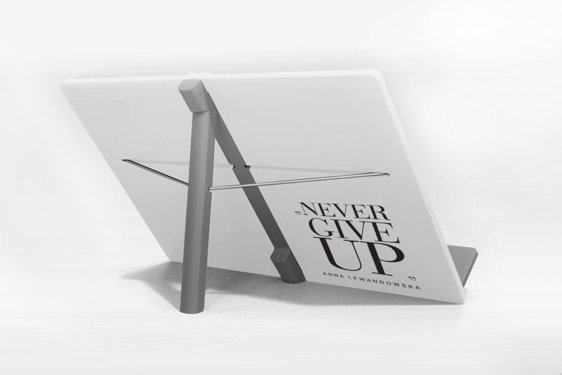 """Never give up"" Cookbook Stand, White"