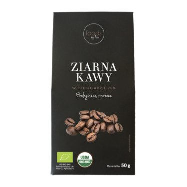 Organic coffee beans with chocolate