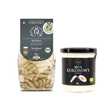 Set of Organic Gluten-Free Rice Pasta fusilli and Organic Coconut Paste