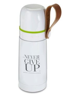 Termos stalowy, Never Give Up, biały, 350 ml